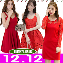 12.12 PROMO  CNY RED dress/ New Year dress /festival dress/PARTY DRESS/TOPS/ dinner dress/ buy 2 free shipping/best price