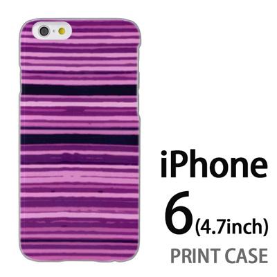 iPhone6 (4.7インチ) 用『No4 かすれボーダー 紫』特殊印刷ケース【 iphone6 iphone アイフォン アイフォン6 au docomo softbank Apple ケース プリント カバー スマホケース スマホカバー 】の画像
