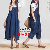 BIG SIZE One day Sale! [Qoo10Japan Bestseller No.1 ] 2way Denim dress and pants