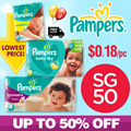 [PnG] 【SG50 PROMO!】UP TO 50% OFF! Pampers Baby Dry Easy Ups Swaddlers Cruisers - World No.1 Diapers! Free and Speedy Delivery! Lowest Price in SG! Maternity Kids.