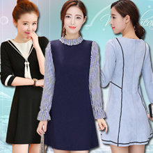 Europe Korean high-end fashion dress in the spring and autumn and summer lady elegant dress European style British style and size / S-3XL dress