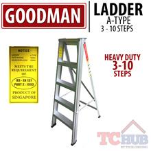 Goodman Ladder Aluminium Heavy Duty 3-10 step with Anti-Slip Surface.Max Load Capacity up to 150KG