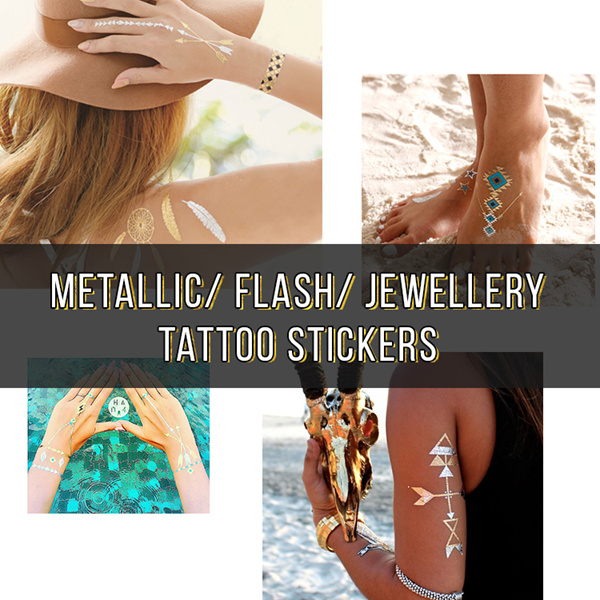 Flash/ Metallic/ Jewelry/ Temporary Tattoo Stickers Deals for only S$11.9 instead of S$0