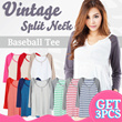 CLEARANCE!NEW UPDEATED! GET3pcs Vintage Split Neck Baseball Tee 9 Colors_Super Comfortable Material/tshirt wanita pakaian wanita casual tee kaos wanita