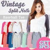 CLEARANCE!NEW UPDEATED! GET3pcs Vintage Split Neck Baseball Tee 9 Colors_Super Comfortable Material/tshirt wanita pakaian wanita casual tee kaos wanita