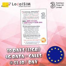 【Europe SIM—30days】4G LTE ◆ 12GB+3000mins ◆ Cash+Carry Bugis/Bedok/Nex/Clementi/Northpoint/PlazaSing