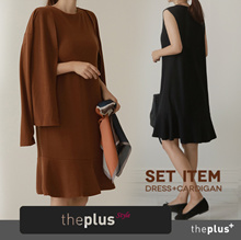 ★theplus★ノースリーブフリルワンピース+カーディガン/セットアイテム/ラップル/ゲストドレスでもOK!/韓国ファッション