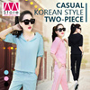 Slimming!!! Korean Style Casual Sports Female Two-Piece Suit/Coat and Pants/Ice Silk texture/Knitting/Solid Color/All-Seasons Suit/Comfortable/Soft/Elastic/Smooth/Breathable 【M18】