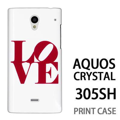 AQUOS CRYSTAL 305SH 用『0621 love レッド』特殊印刷ケース【 aquos crystal 305sh アクオス クリスタル アクオスクリスタル softbank ケース プリント カバー スマホケース スマホカバー 】の画像