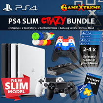 PS4 SLIM CRAZY BUNDLE~! GO CRAZILY FUN with awesome game selections! Additional controller to share!