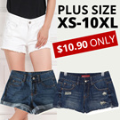 JESSCLOSET - Denim Shorts Comes In Plus Size Up To 10XL