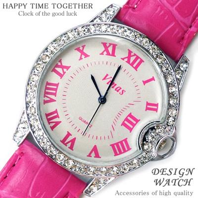 ★送料無料!999円超お得!!★超人気レディース腕時計!!かわいいデザイン♪ブリリアントカットGlass/ピンク【tvs183】の画像