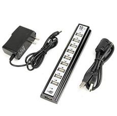 10ポートUSBハブ 電源アダプタ付★USB2.0/1.1 USB HUB★USB2.0ハイスピードモード対応☆ブラック