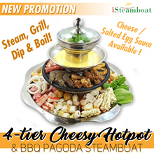 [iSteamboat] NEW Promotion! 4-tier Pagoda Steamboat BUFFET with Cheese and Salted Egg Sauce!