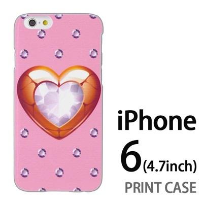iPhone6 (4.7インチ) 用『0114 ハートとダイヤ ピンク』特殊印刷ケース【 iphone6 iphone アイフォン アイフォン6 au docomo softbank Apple ケース プリント カバー スマホケース スマホカバー 】の画像
