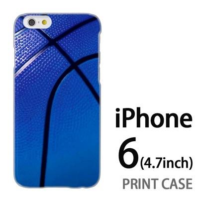 iPhone6 (4.7インチ) 用『No4 バスケットボール 青』特殊印刷ケース【 iphone6 iphone アイフォン アイフォン6 au docomo softbank Apple ケース プリント カバー スマホケース スマホカバー 】の画像