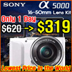 [Today Only $319] Sony Alpha A5000 20.1 MP Mirrorless Digital Camera With 16-50mm OSS Lens [White] /