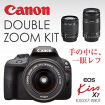 在庫追加しました!【スーパーセールクーポンで42480円】KISSX7-WKIT Canon デジタル一眼レフカメラ EOS Kiss X7 ダブルズームキット EF-S18-55mm/EF-S55-250mm付属