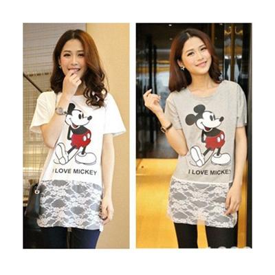 レースTシャツ レディースTシャツ マウスデザインTシャツ ローングTシャツの画像