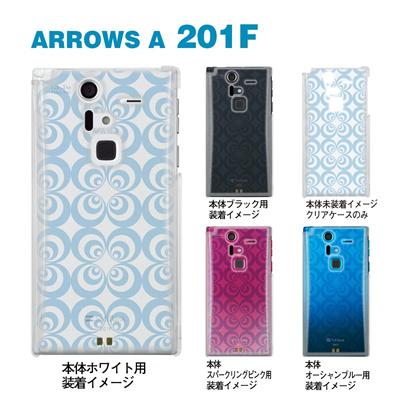 【ARROWS ケース】【201F】【Soft Bank】【カバー】【スマホケース】【クリアケース】【トランスペアレンツ】【カラーズ・ブルー】【レトロサークル】 06-201f-ca0031e-bの画像
