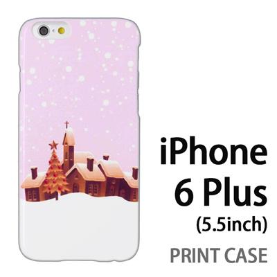 iPhone6 Plus (5.5インチ) 用『1222 雪降る町 ピンク』特殊印刷ケース【 iphone6 plus iphone アイフォン アイフォン6 プラス au docomo softbank Apple ケース プリント カバー スマホケース スマホカバー 】の画像