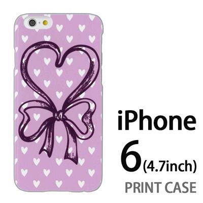 iPhone6 (4.7インチ) 用『0114 ハートリボン ピンク』特殊印刷ケース【 iphone6 iphone アイフォン アイフォン6 au docomo softbank Apple ケース プリント カバー スマホケース スマホカバー 】の画像