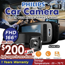 """Philips Car Camera ADR810s FHD Super Wide Angle Perfect Night View 2.7"""" LCD  1-yr warranty"""