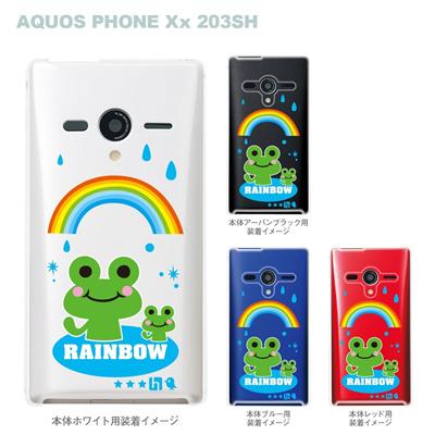 【TORRY DESIGN】【AQUOS PHONE Xx 203SH】【Soft Bank】【ケース】【カバー】【スマホケース】【クリアケース】【アニマル】【カエル】【虹】【レインボー】【雨】 27-203sh-tr0020の画像