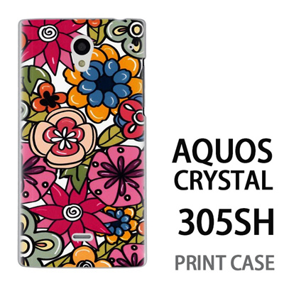 AQUOS CRYSTAL 305SH 用『0618 トロピカルフラワー』特殊印刷ケース【 aquos crystal 305sh アクオス クリスタル アクオスクリスタル softbank ケース プリント カバー スマホケース スマホカバー 】の画像
