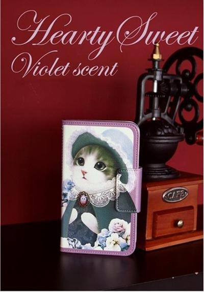 【iPhone/GALAXY/GALAXY Note/LG G2ケース】Mr.h Hearty sweet_violet scent Diary(ハーティスイート ヴァイオレット セントダイアリー)オリジナル ハンドメイド【レビューを書いてネコポス送料無料】の画像