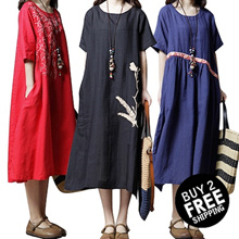 ❤BUY 2 FREE SHIPPING❤ cotton and linen short sleeved dress pants skirt