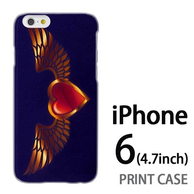 iPhone6 (4.7インチ) 用『0114 羽とハート 紫』特殊印刷ケース【 iphone6 iphone アイフォン アイフォン6 au docomo softbank Apple ケース プリント カバー スマホケース スマホカバー 】の画像