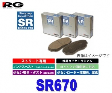【クリックで詳細表示】RG(レーシングギア) SR670 【SRブレーキパッド フロント用 VITZ(ヴィッツ) NCP95 1300CC 05年01月~ 4WD】