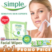 ♥1+1 OFFER♥ U.K No.1 SIMPLE Facial Cleansing Wipes. Gentle to skin tough on waterproof makeup.