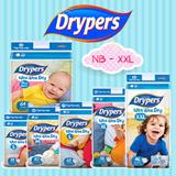 Drypers Wee Wee Dry Diapers (S88 M80 L68 XL56 XXL46) 3-packs