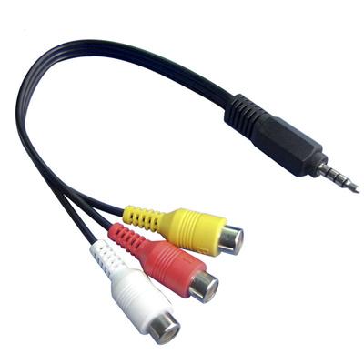 【送料無料】3.5mm4極ミニプラグ(オス)/3RCAビデオケーブル(コンポジット映像+音声) 映像・音声端子[黄/赤/白](メス) 変換コード 約0.3mの画像