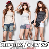 [grey u]Sleeveless Tee S$2.9♥Made in KOREA~!]★S/S 2015 Best Selling Premium T-shirts in Korea♥free shipping/Casual Loose fit T-shirts/Basic Design T-shirts/Casual T-shirts/Sleeveless Tee