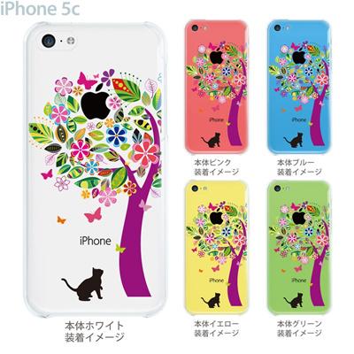【iPhone5cケース】【iPhone5cカバー】【iPhone 5c ケース】【スマホケース】【クリアケース】【クリア カバー】【イラスト】【フラワー】【花とネコ】 22-ip5c-ca0070の画像