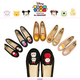 ♥New Arrival♥Gracegift-Disney TsumTsum Leather Embroidered Moccasins/Hidden Wedge/Women Shoes