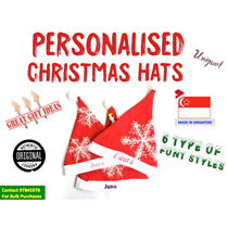 🎅Christmas Party Hats🎅SG Customised Embroidery Kids/Adult Sizes Santa Hats Events Celebration Gift