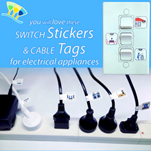 COLOUR Easy Tags and Stickers for electrical appliances cables and wall switches (identifiers)