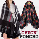 F/W hit item!▶poncho 7-type update! Zipper buckle hood◀ ▶Check-pattern soft material◀ ▶pillow