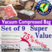 [Premium Quality][Set of9 Vacuum Bags][CNY BIG SALE][Vacuum Compressed bag][Hand roll seal bag][Travel organizer][Travel Bag][winter clothes tidy up][Perfect for home storage and travel organizer]