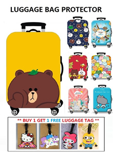 BUY 1 GET 1 FREE CUTE LUGGAGE TAG ★ High Quality Elastic Luggage Bag Cover ★ Suitcase Protector