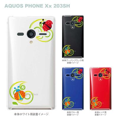 【AQUOS PHONEケース】【203SH】【Soft Bank】【カバー】【スマホケース】【クリアケース】【フラワー】【てんとう虫】 22-203sh-ca0016の画像