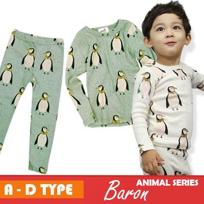 [国内発送]メール便送料無料 1~2サイズUPがオススメ 韓国子供服 かわいいアニマル柄4つのタイプから選べる ペンギン、オオハシ、キリン、ヒョウ Tシャツ レギンス 室内着でもお出かけでもオッケー 動物 アニマルシリーズ ロンT レギンスの画像