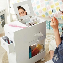 Mobile Movable Makeup Organizer Dresser Cosmetic Jewelry Storage Cabinet With Mirror Drawers