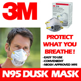 3M 8210 N95 Dust Mask. NIOSH Approved N95 Mask Suitable for use in hazy and dusty condition. Made In SG. 95% filtration efficiency against solid and liquid aerosol provide custom fit and secure seal