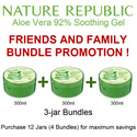 Bundle of 3 jars ★ Soothing and Moisture Aloe Vera 92% Soothing Gel 1+1+1 Nature Republic 3W Clinic The Face Shop TheFaceShop NaturEssentials imselene