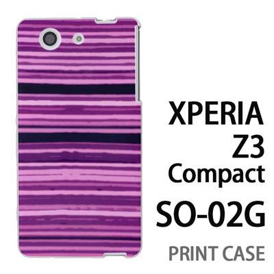 XPERIA Z3 Compact SO-02G 用『No4 かすれボーダー 紫』特殊印刷ケース【 xperia z3 compact so-02g so02g SO02G xperiaz3 エクスペリア エクスペリアz3 コンパクト docomo ケース プリント カバー スマホケース スマホカバー】の画像